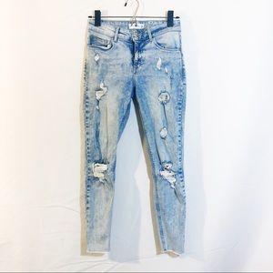 ZARA MNG acid wash skinny jeans raw hem distressed